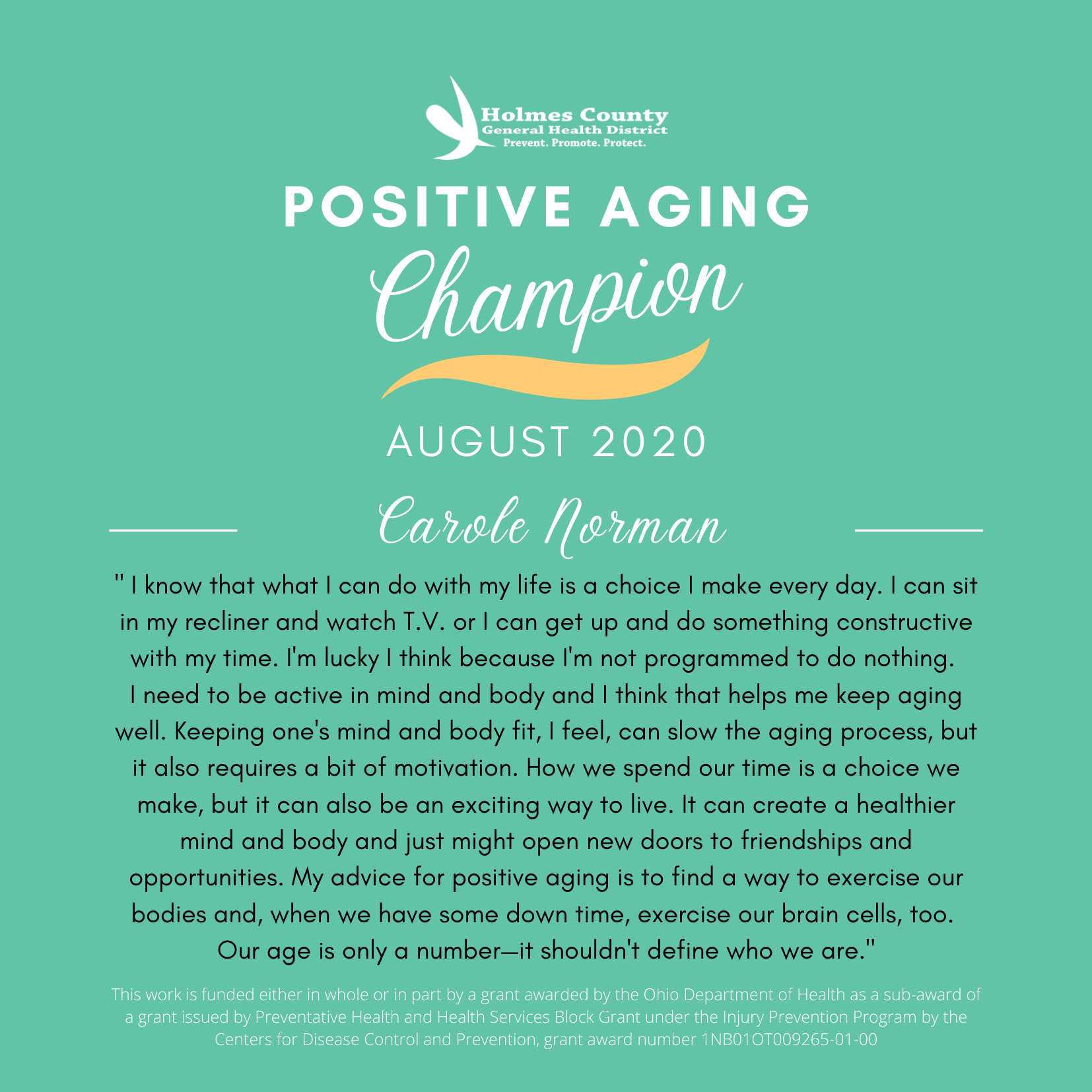 Falls Prevention August Positive Aging Champ